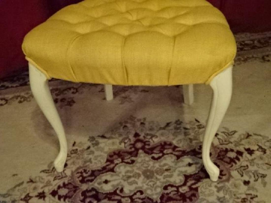 FRENCH STYLE CHAIR, WHITE PAINTED WOOD FRAME, YELLOW - 3