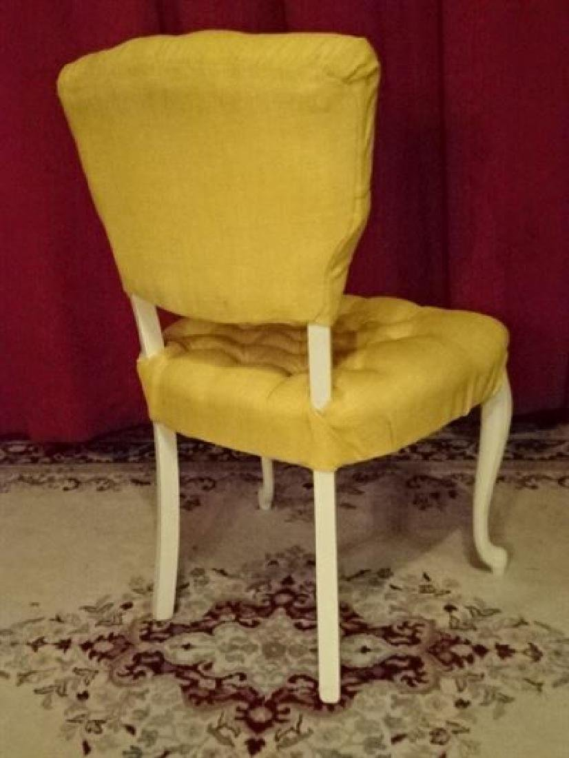 FRENCH STYLE CHAIR, WHITE PAINTED WOOD FRAME, YELLOW - 5