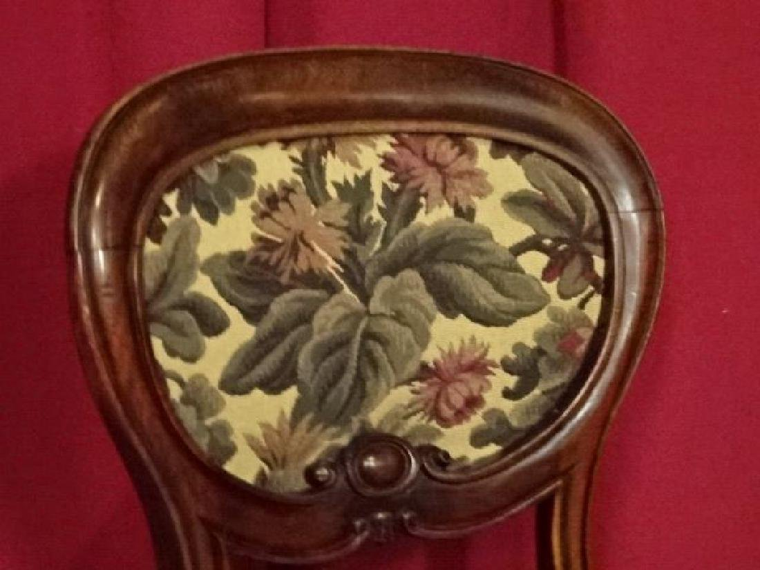 ANTIQUE PARLOR CHAIR, FLORAL UPHOLSTERED SEAT AND BACK, - 2