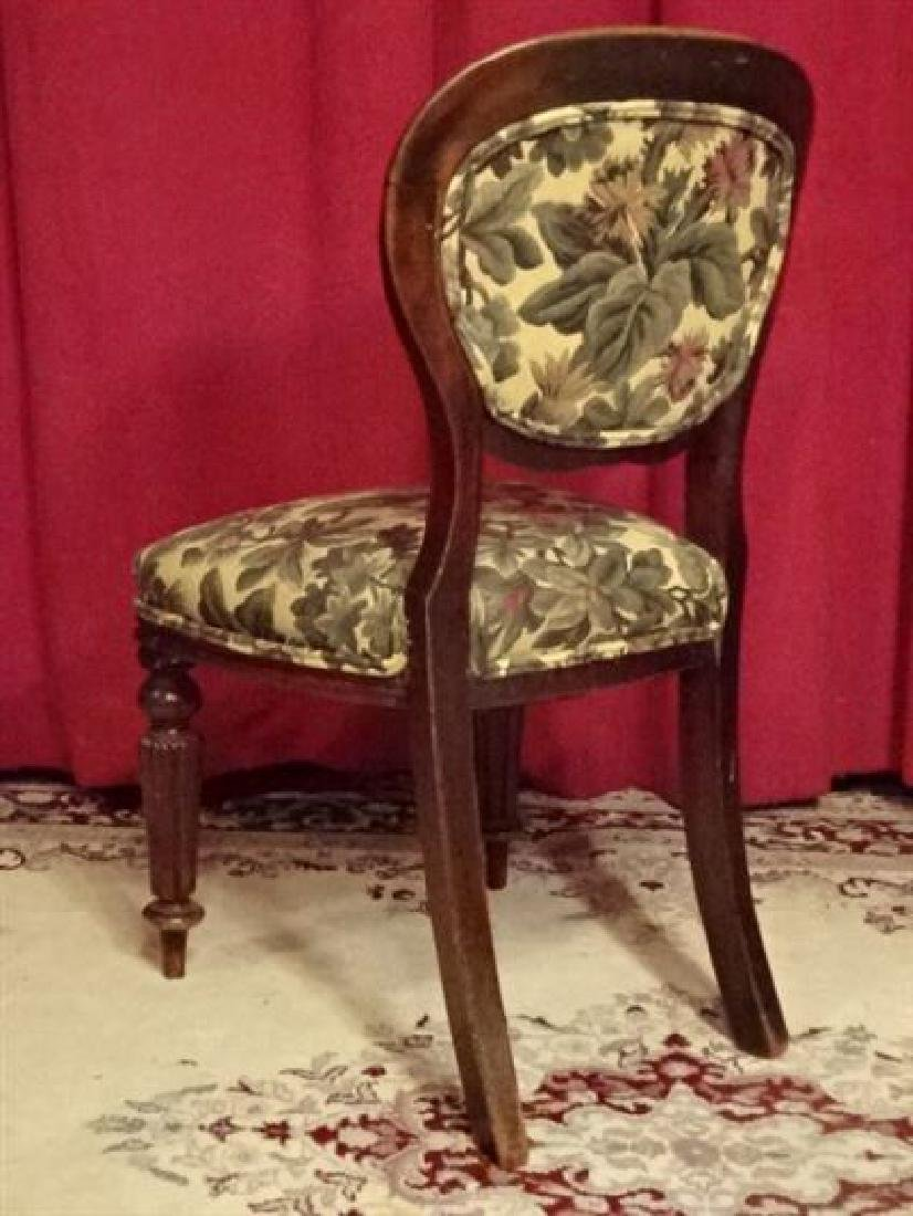 ANTIQUE PARLOR CHAIR, FLORAL UPHOLSTERED SEAT AND BACK, - 4