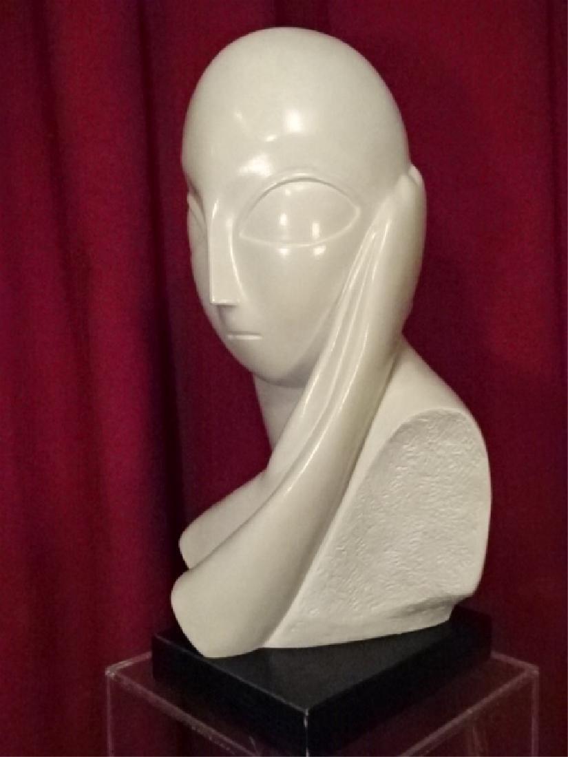 MODERNIST WHITE CERAMIC FEMALE BUST, VERY GOOD - 3