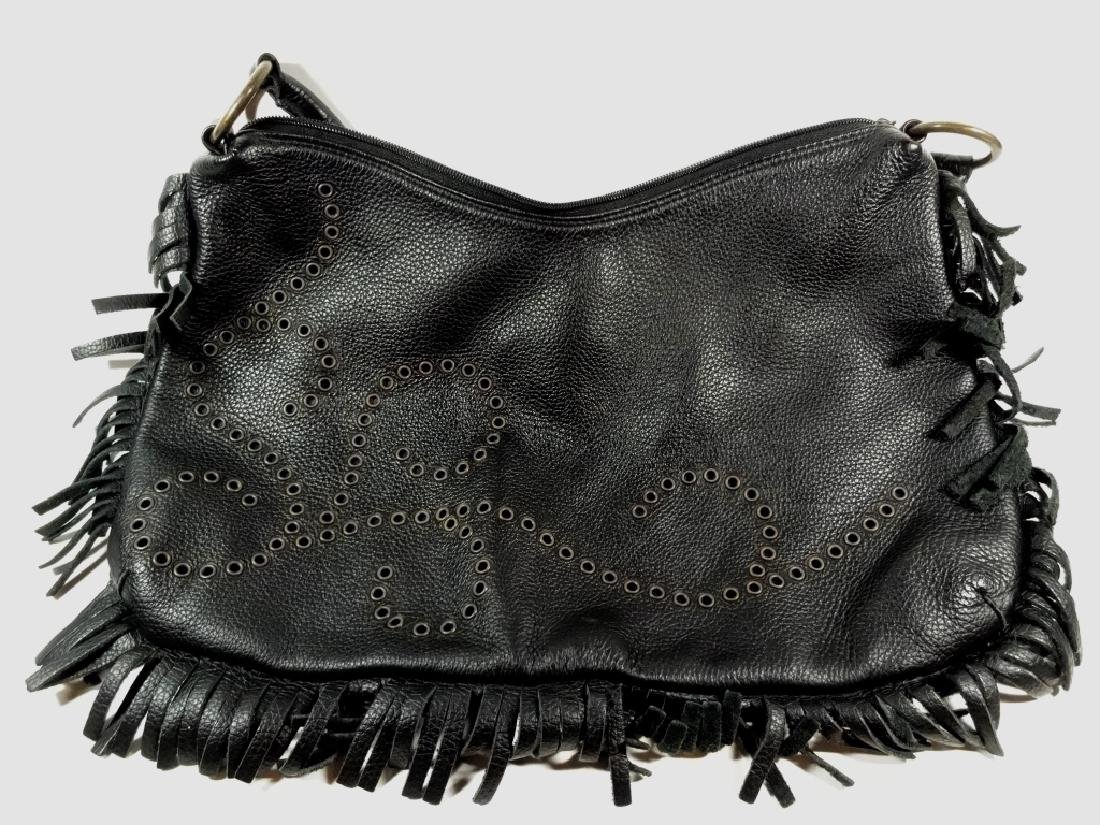 VINTAGE BERGE LEATHER PURSE, BLACK LEATHER WITH FRINGE