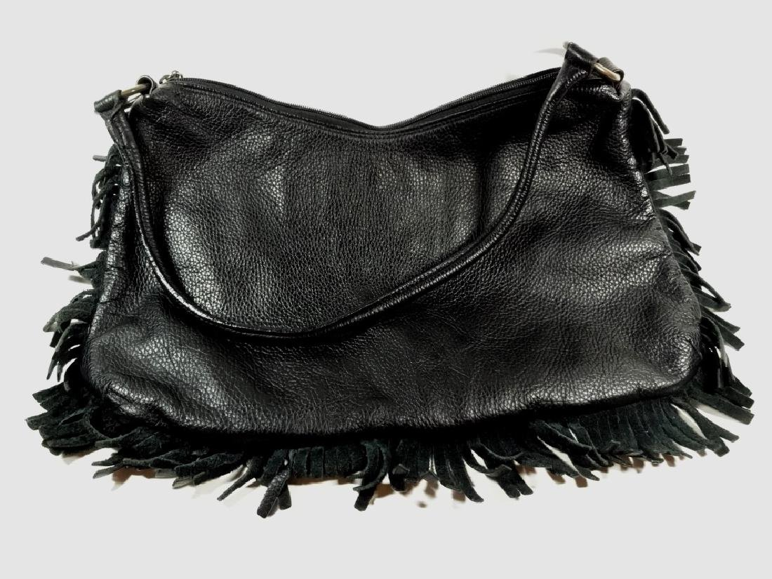 VINTAGE BERGE LEATHER PURSE, BLACK LEATHER WITH FRINGE - 4