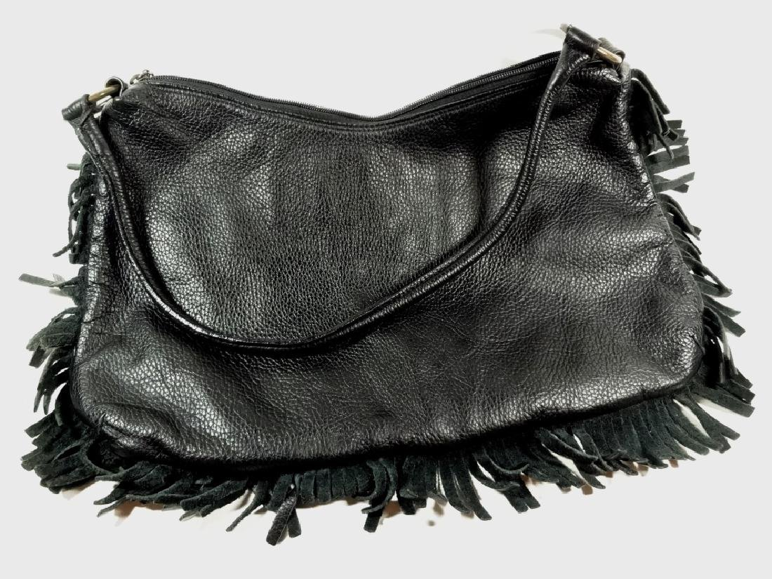 VINTAGE BERGE LEATHER PURSE, BLACK LEATHER WITH FRINGE - 5
