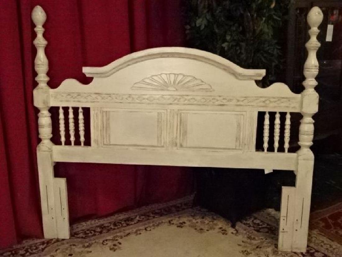 WHITE PAINTED WOOD HEADBOARD, LIGHTLY DISTRESSED