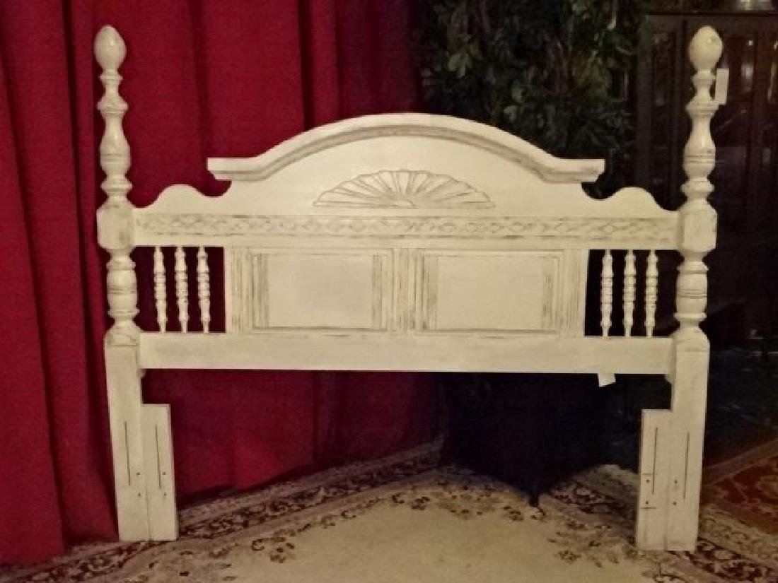 WHITE PAINTED WOOD HEADBOARD, LIGHTLY DISTRESSED - 2