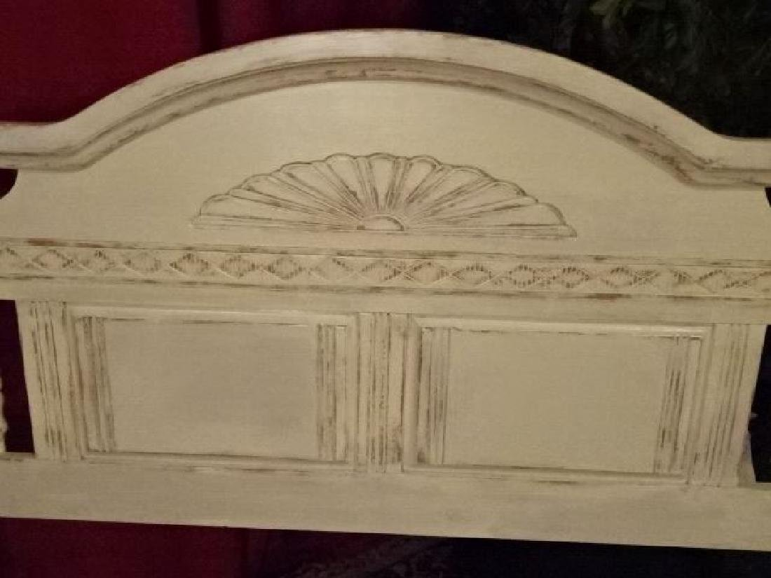 WHITE PAINTED WOOD HEADBOARD, LIGHTLY DISTRESSED - 3