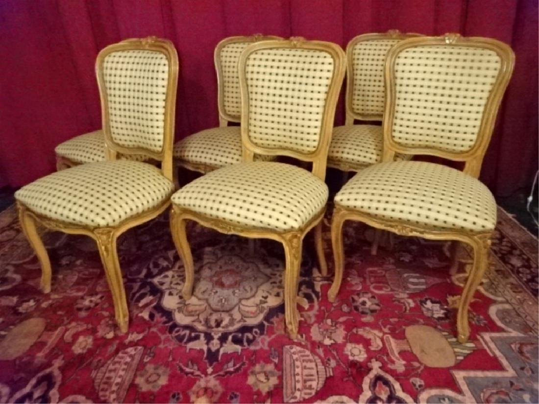 6 LOUIS XV STYLE DINING CHAIRS, LIGHT FINISH WITH