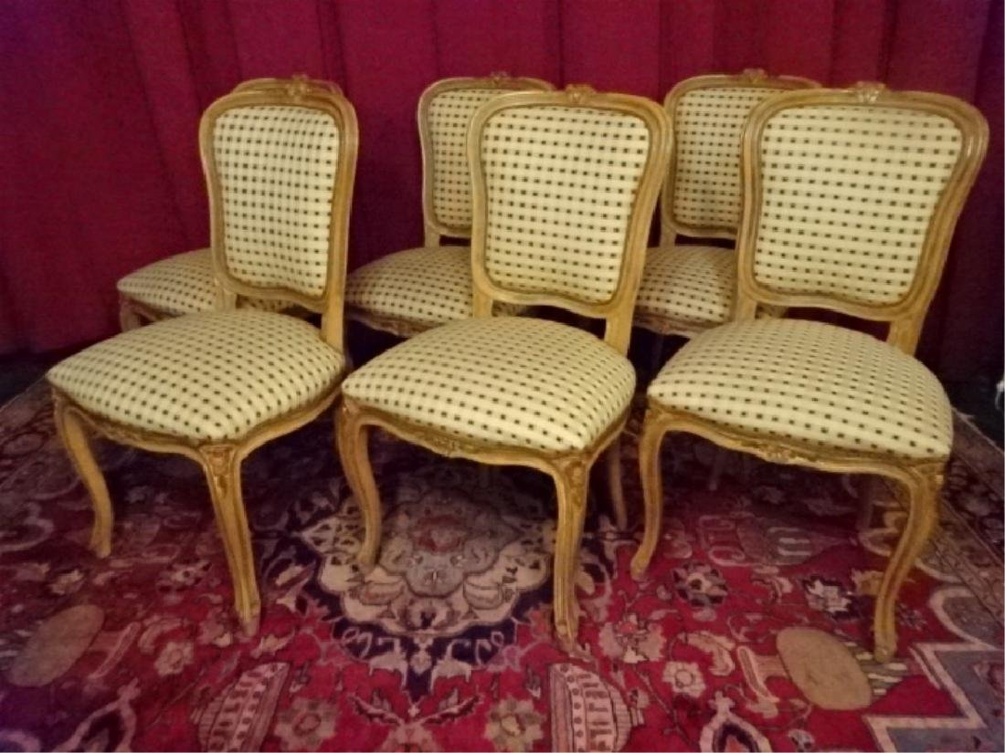 6 LOUIS XV STYLE DINING CHAIRS, LIGHT FINISH WITH - 2