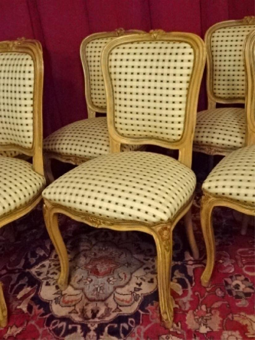 6 LOUIS XV STYLE DINING CHAIRS, LIGHT FINISH WITH - 3