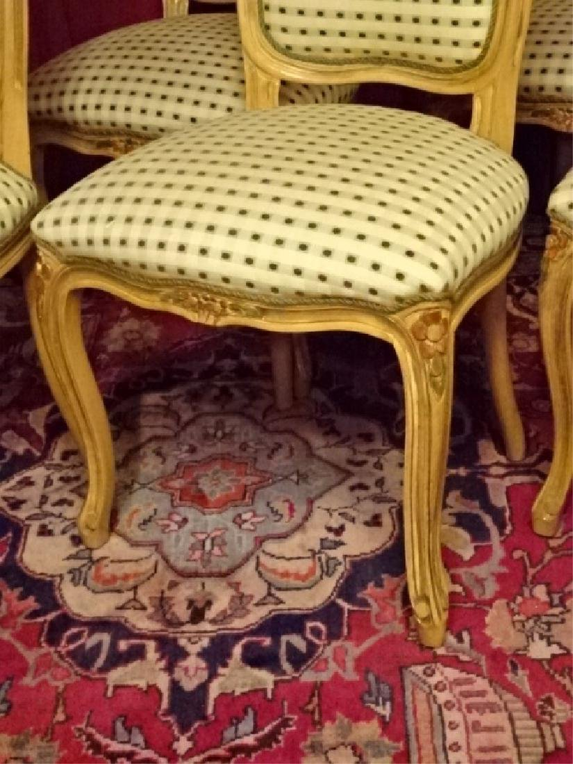 6 LOUIS XV STYLE DINING CHAIRS, LIGHT FINISH WITH - 5