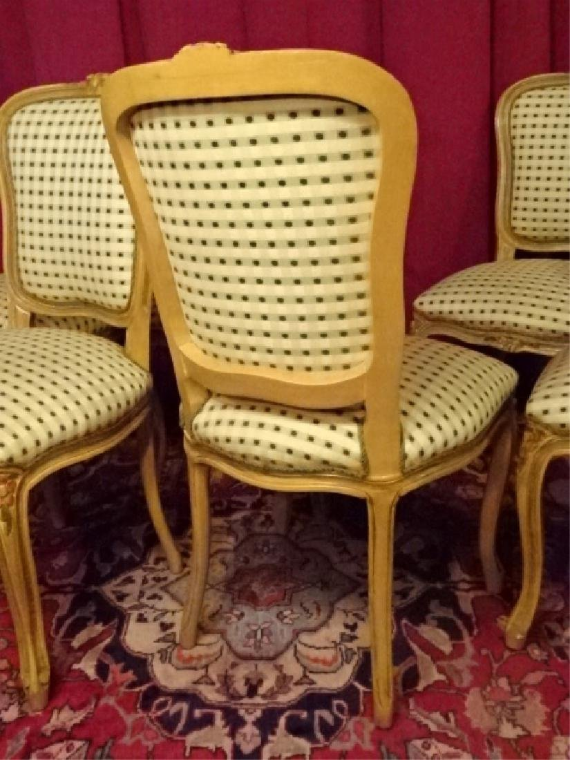 6 LOUIS XV STYLE DINING CHAIRS, LIGHT FINISH WITH - 7