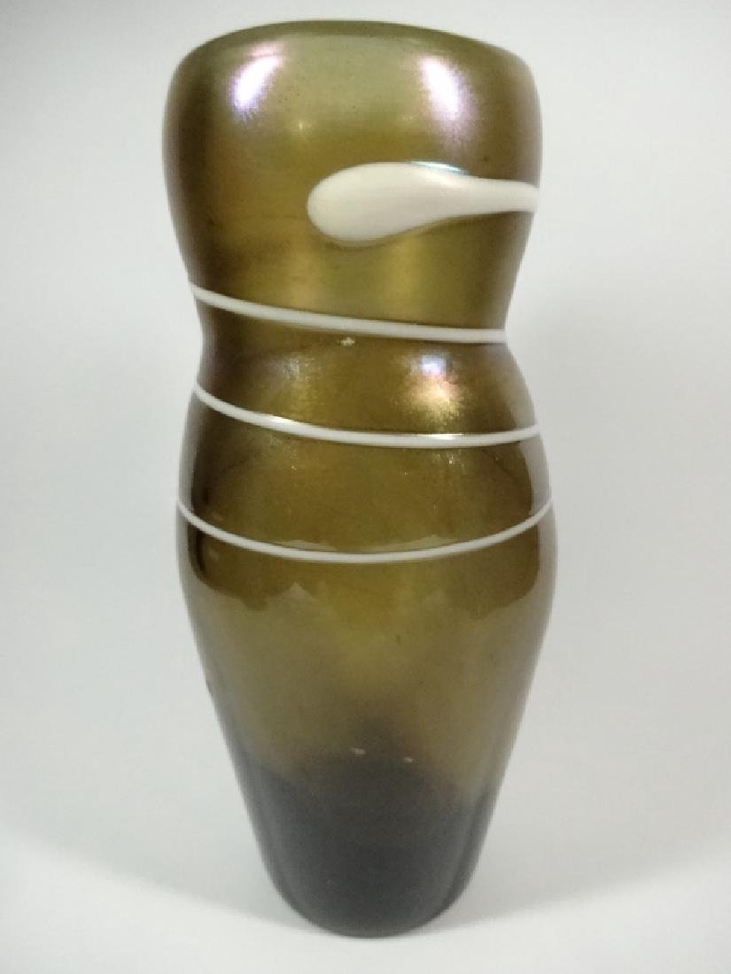 VINTAGE ART GLASS VASE WITH WHITE APPLIED SWIRL, APPROX