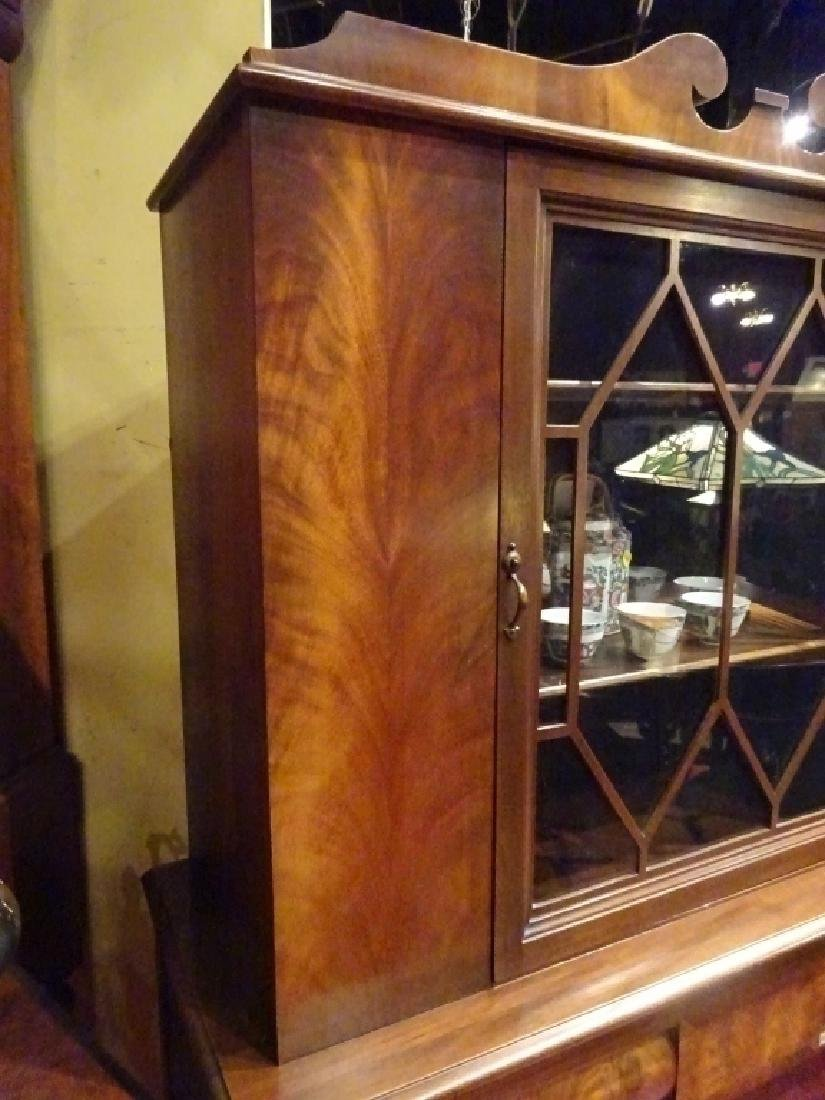 EMPIRE STYLE MAHOGANY CABINET, 2 GLASS DOORS OVER 2 - 4