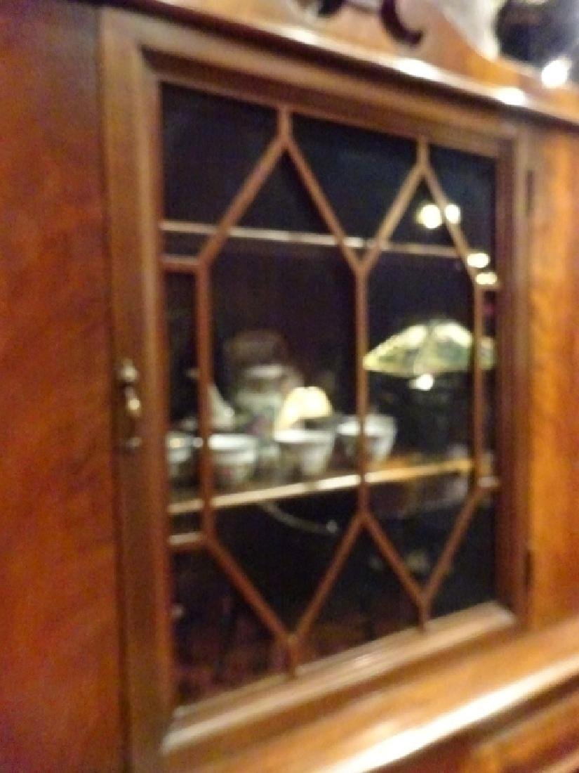 EMPIRE STYLE MAHOGANY CABINET, 2 GLASS DOORS OVER 2 - 8