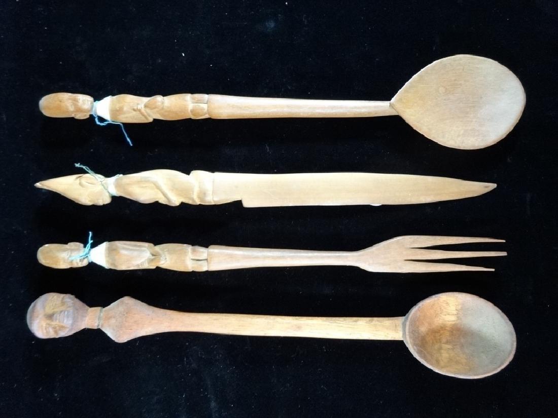 4 AFRICAN CARVED WOOD UTENSILS, 2 SPOONS, FORK, KNIFE,