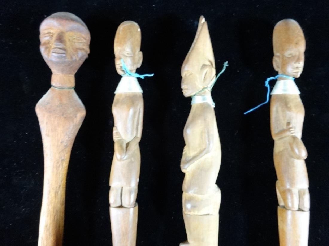 4 AFRICAN CARVED WOOD UTENSILS, 2 SPOONS, FORK, KNIFE, - 2