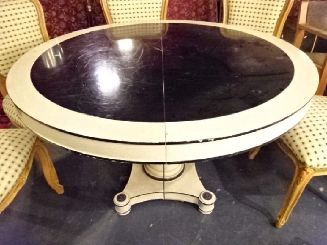 REGENCY STYLE ROUND DINING TABLE, WHITE AND BLACK