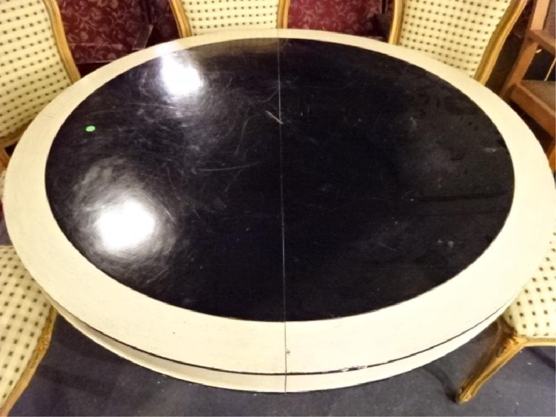 REGENCY STYLE ROUND DINING TABLE, WHITE AND BLACK - 2