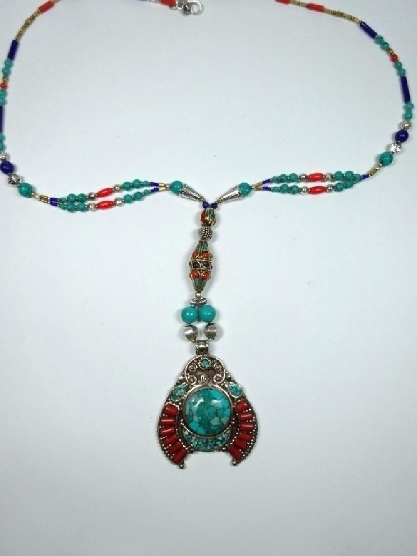 TIBETAN NECKLACE WITH TURQUOISE, LAPIS & CORAL, APPROX - 3