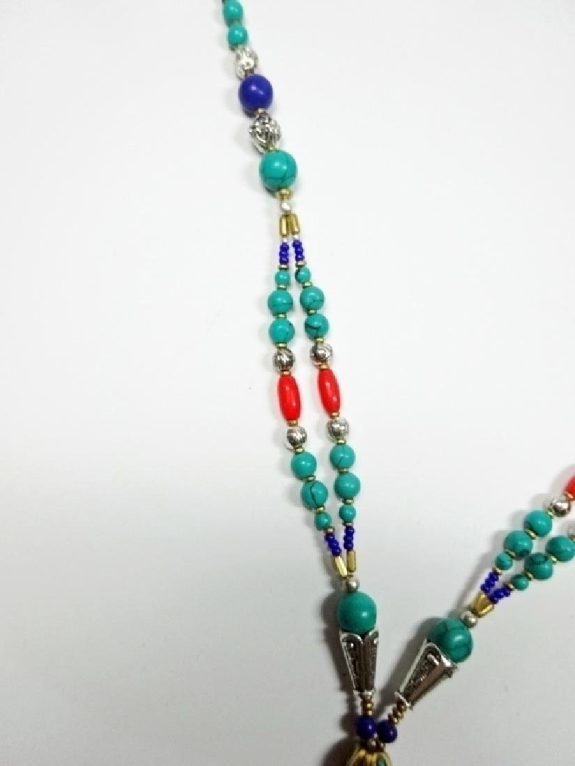 TIBETAN NECKLACE WITH TURQUOISE, LAPIS & CORAL, APPROX - 5