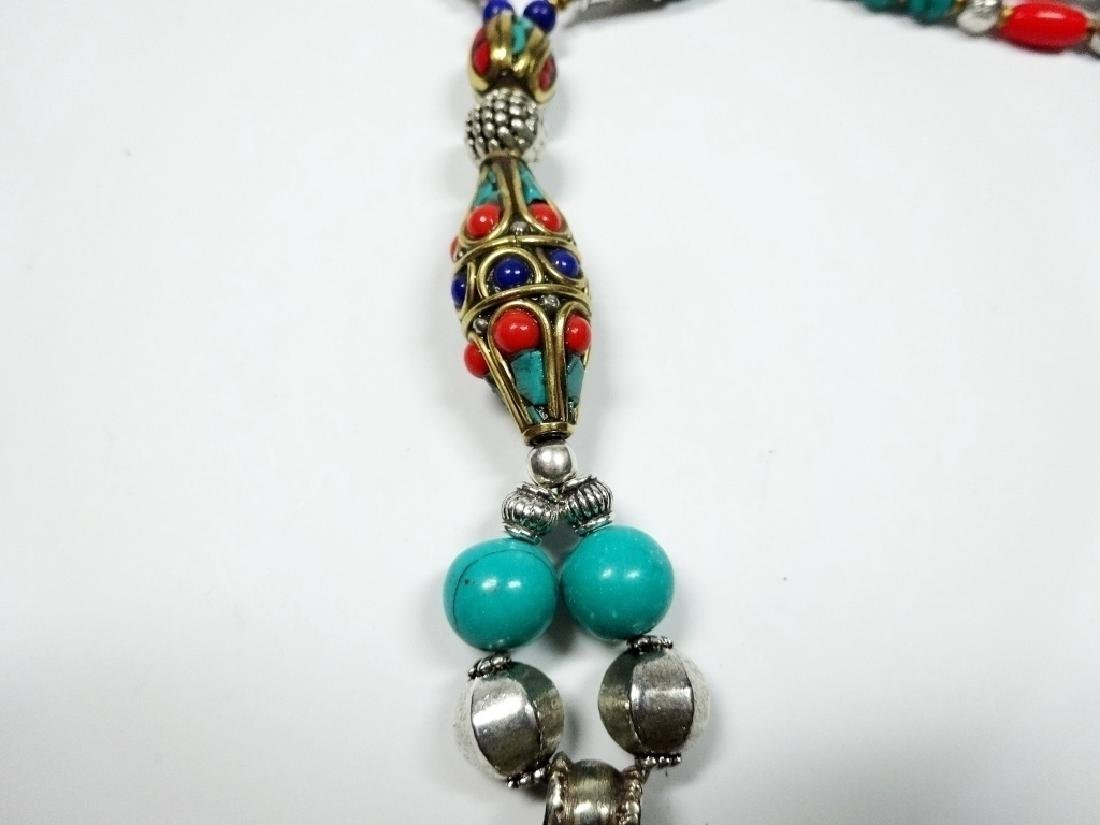 TIBETAN NECKLACE WITH TURQUOISE, LAPIS & CORAL, APPROX - 6