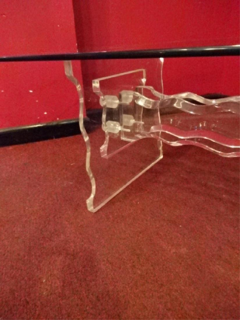 CLEAR LUCITE COFFEE TABLE, BEVELED SERPENTINE WAVE FORM - 4