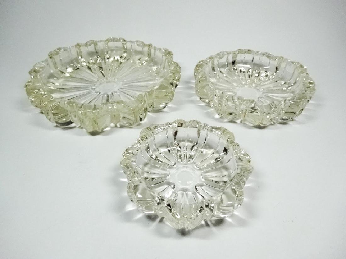 3 PC MID CENTURY DECO CUT GLASS ROSETTE ASHTRAYS,