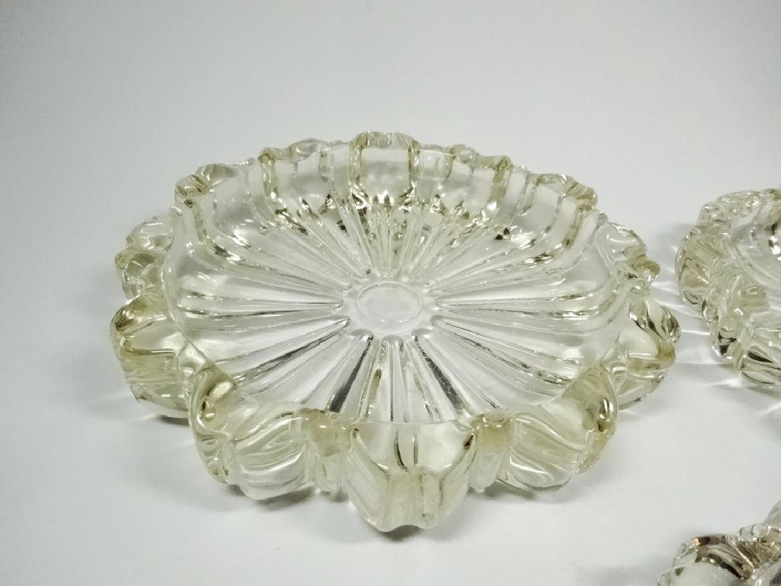 3 PC MID CENTURY DECO CUT GLASS ROSETTE ASHTRAYS, - 2