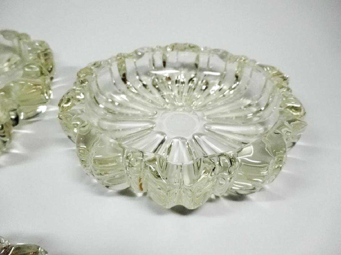 3 PC MID CENTURY DECO CUT GLASS ROSETTE ASHTRAYS, - 3