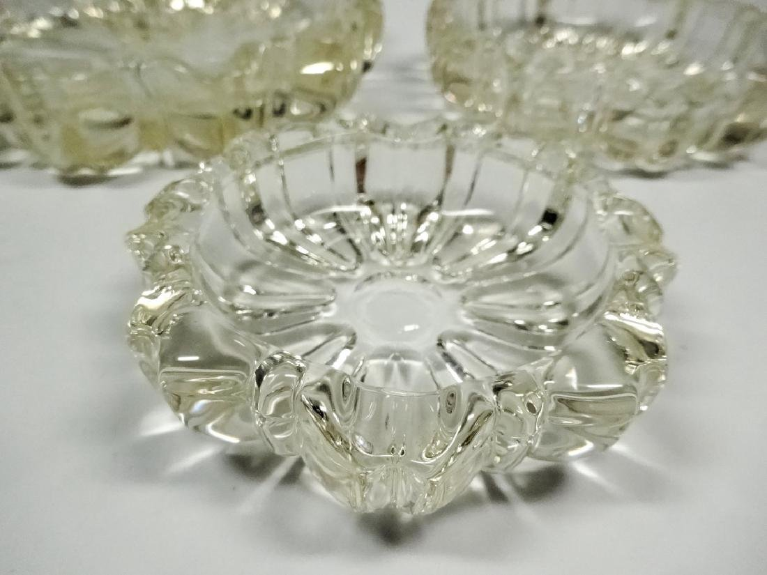 3 PC MID CENTURY DECO CUT GLASS ROSETTE ASHTRAYS, - 4