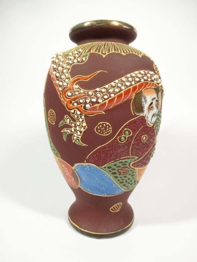 SMALL MID CENTURY JAPANESE SATSUMA VASE, RAISED DRAGON - 5