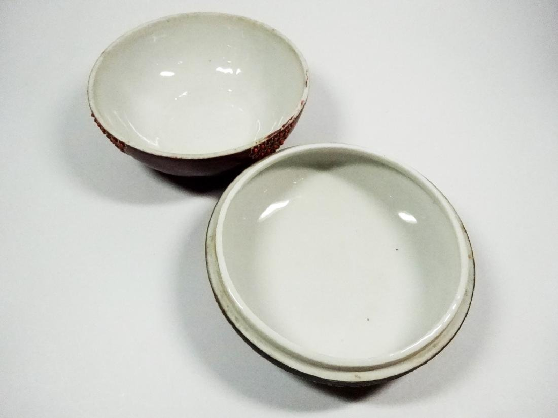 ROUND SATSUMA CANDY DISH WITH LID, MAN ON LID, APPROX - 3