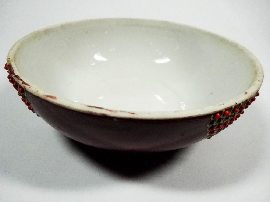 ROUND SATSUMA CANDY DISH WITH LID, MAN ON LID, APPROX - 7