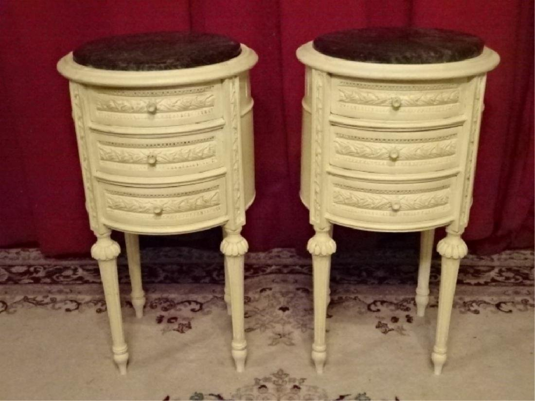 PAIR ROUND LOUIS XVI STYLE TABLES, 3 DRAWERS EACH,