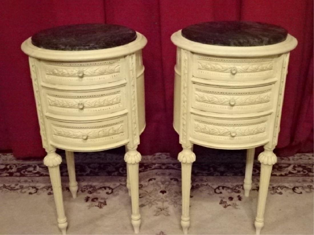 PAIR ROUND LOUIS XVI STYLE TABLES, 3 DRAWERS EACH, - 2