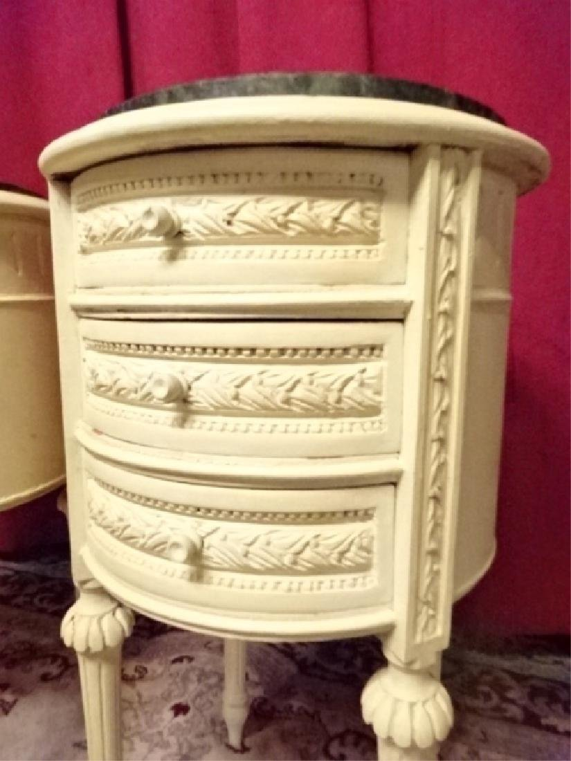 PAIR ROUND LOUIS XVI STYLE TABLES, 3 DRAWERS EACH, - 5