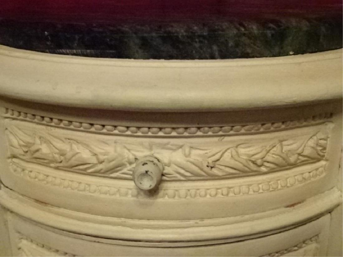 PAIR ROUND LOUIS XVI STYLE TABLES, 3 DRAWERS EACH, - 6