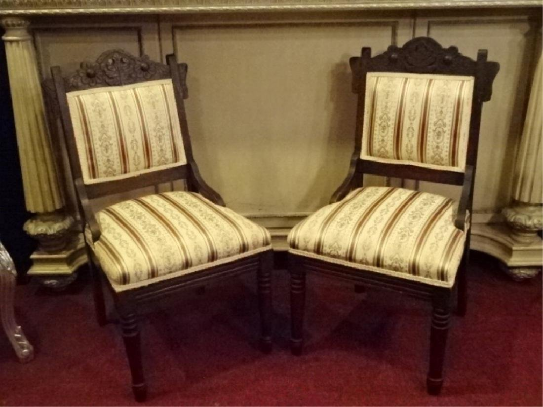 PAIR VICTORIAN PARLOR CHAIRS, 19TH C., GOLD AND IVORY