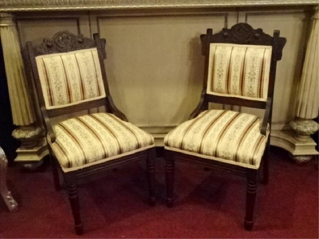 PAIR VICTORIAN PARLOR CHAIRS, 19TH C., GOLD AND IVORY - 2