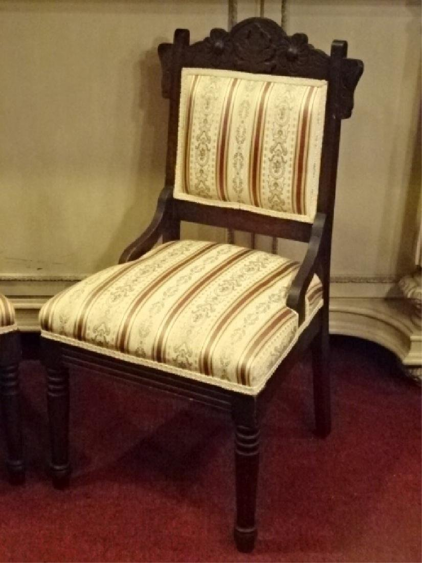 PAIR VICTORIAN PARLOR CHAIRS, 19TH C., GOLD AND IVORY - 3