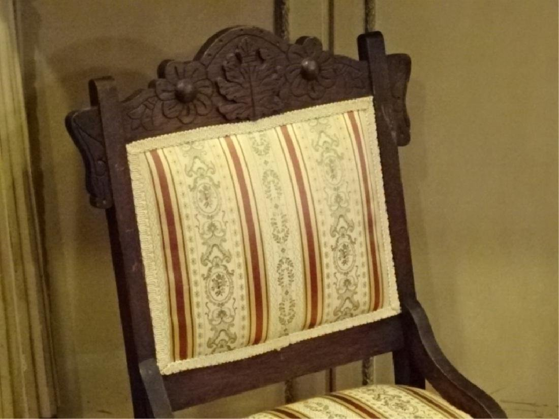 PAIR VICTORIAN PARLOR CHAIRS, 19TH C., GOLD AND IVORY - 5