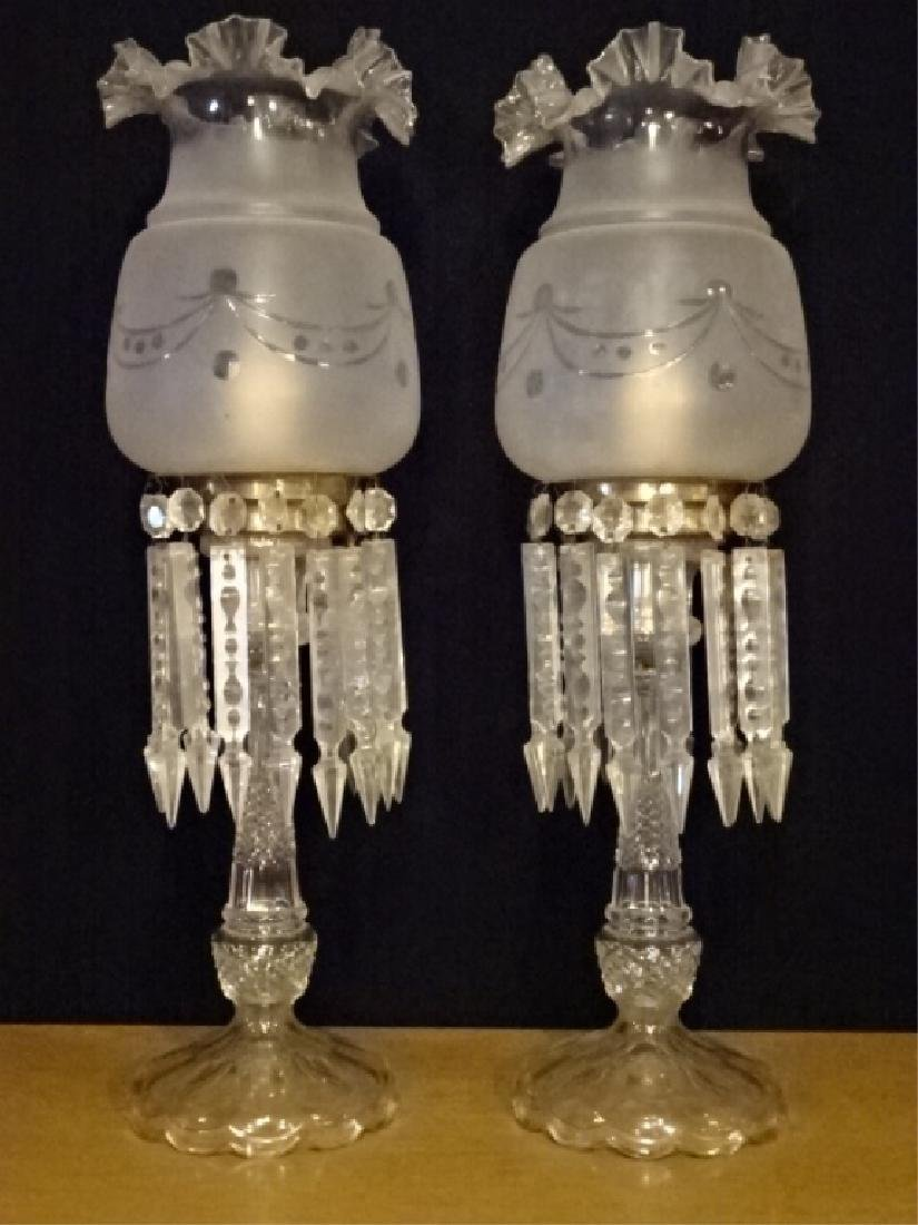 PAIR 19TH CENTURY CRYSTAL LAMPS WITH RUFFLED GLASS