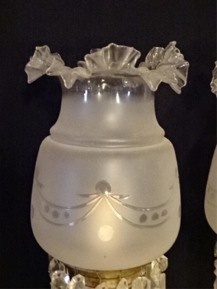 PAIR 19TH CENTURY CRYSTAL LAMPS WITH RUFFLED GLASS - 2
