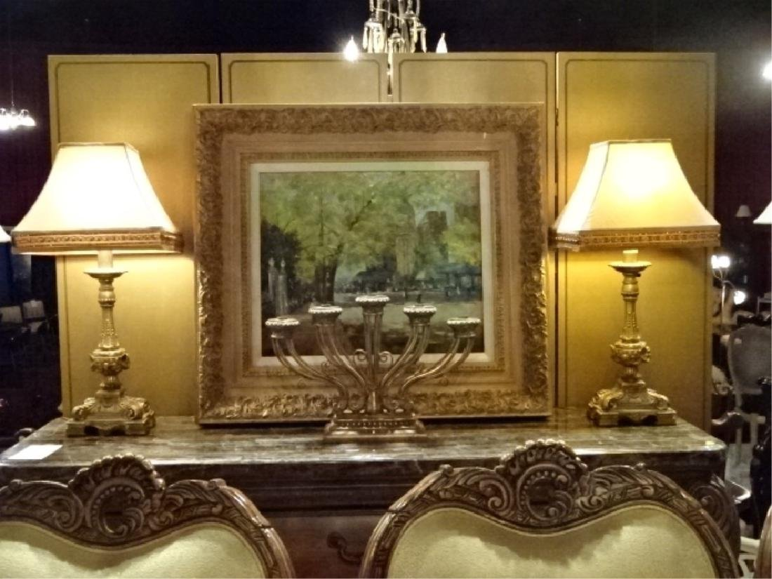 PAIR NEOCLASSICAL GOLD TABLE LAMPS, GOLD SHADES WITH