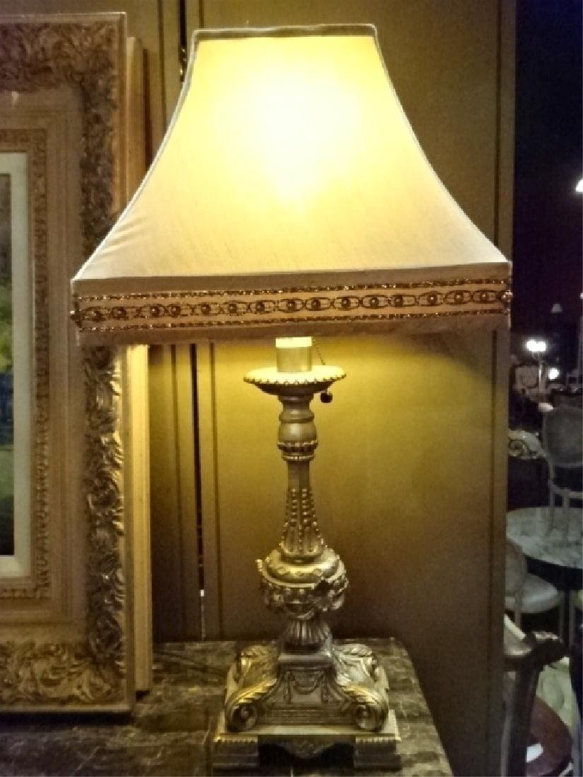 PAIR NEOCLASSICAL GOLD TABLE LAMPS, GOLD SHADES WITH - 3