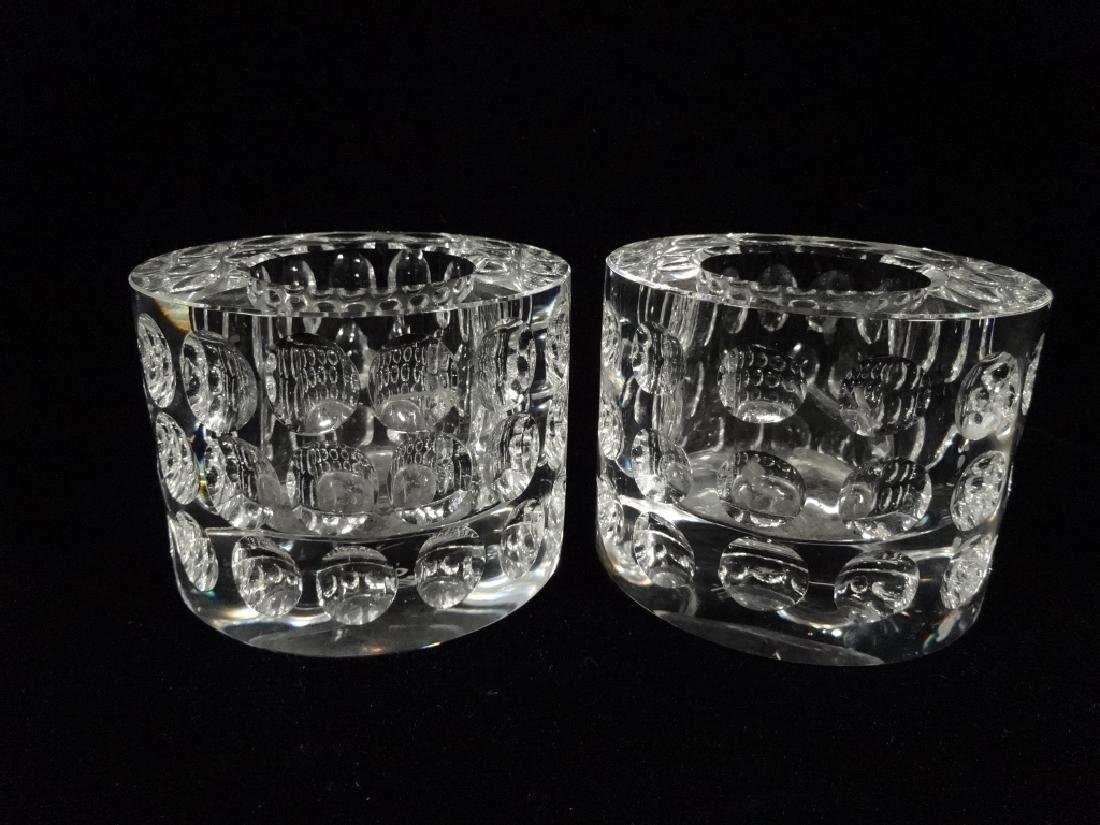 2 PC OLEG CASSINI CRYSTAL CANDLE HOLDERS, APPROX 2 3/4""