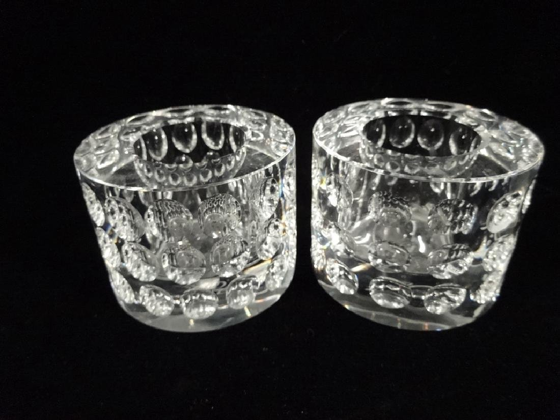 "2 PC OLEG CASSINI CRYSTAL CANDLE HOLDERS, APPROX 2 3/4"" - 2"