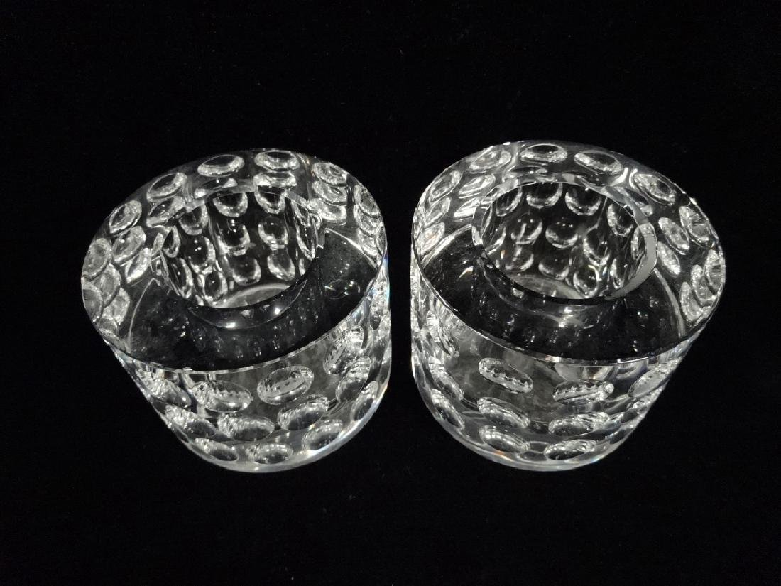 "2 PC OLEG CASSINI CRYSTAL CANDLE HOLDERS, APPROX 2 3/4"" - 3"