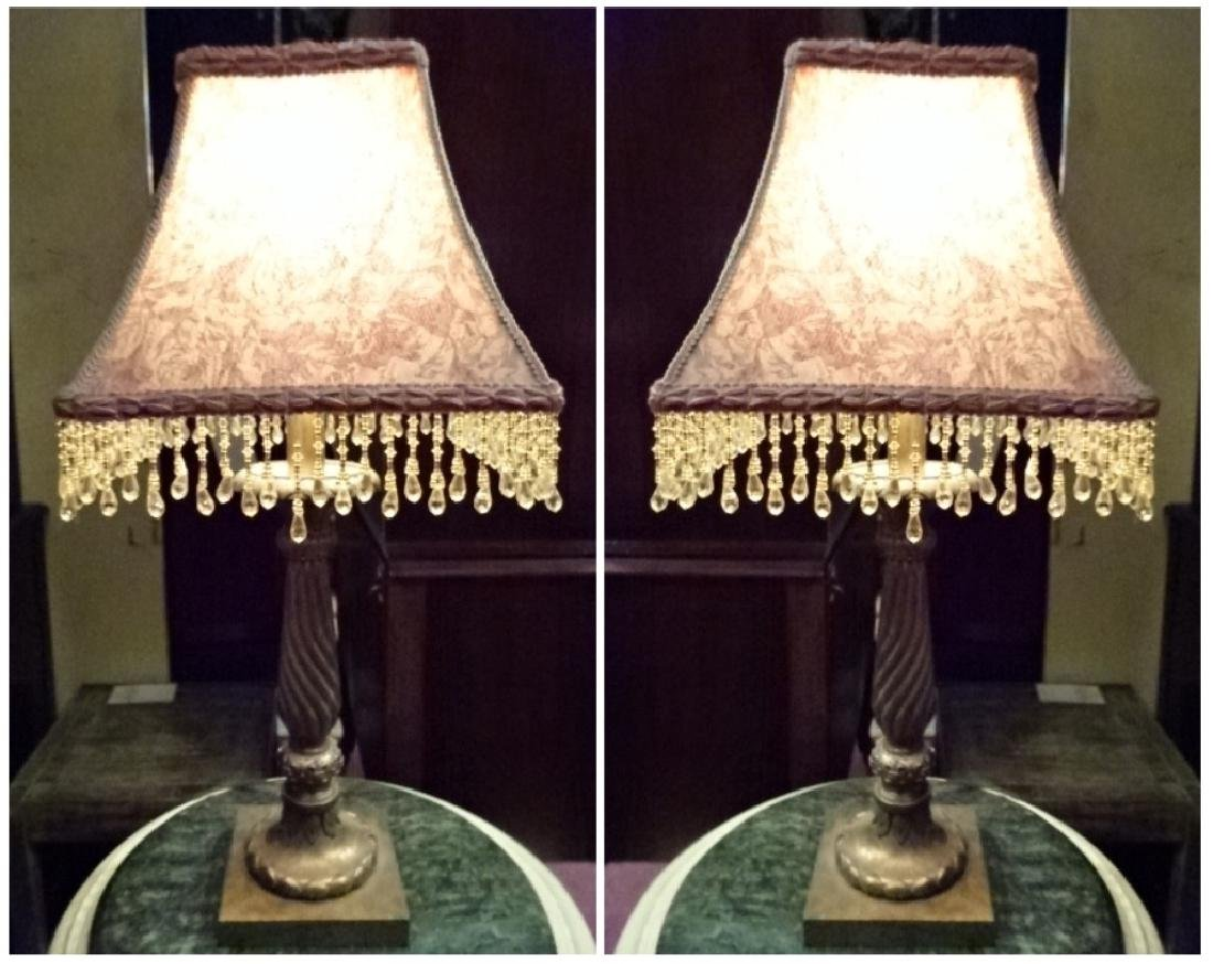 PAIR GOLD FINISH TABLE LAMPS, BEADED FRINGE SHADES,
